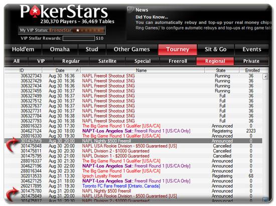 pokerstars napl free tournaments