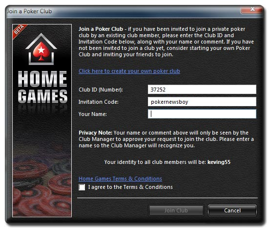 pokerstars home game